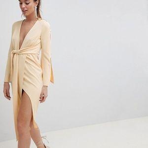 *NEW* Kimono Button Plunge Midi Dress